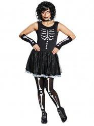 Disfraz esqueleto negro blanco mujer