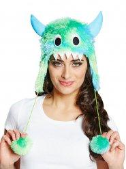 Sombrero piel lindo monstruo verde y azul