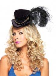 Mini sombrero alto con velo y pluma adulto Steampunk