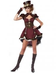 Disfraz Steampunk mujer bordeos