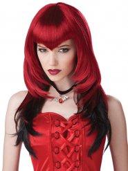 Peluca vampiro gótico rojo y negro adulto Halloween