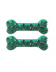 2 Horquillas pelo hueso brillantes verde 6 cm