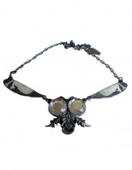 Collar gótico cadena mosca plateada