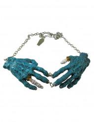 Collar gótico cadena colgante manos zombies azules
