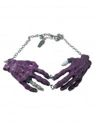 Collar gótico cadena colgante manos zombies morado