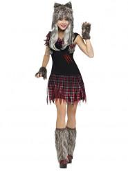 Disfraz hombre lobo Halloween mujer gris-rojo