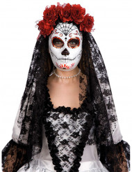 Máscara Día de los Muertos con rosas rojas adulto Halloween