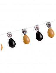 Guirnalda cráneos y globos naranjas y negros Halloween