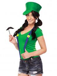 Kit disfraz plombero verde videojuego mujer