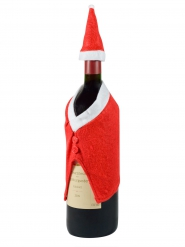 Gorro y abrigo decoración botella de Navidad rojo blanco