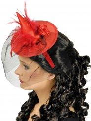 Mini sombrero bruja rojo con velo mujer Halloween