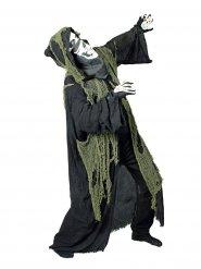 Capa segadora negra con capa y mantilla verde adulto Halloween