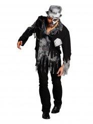 Disfraz de novio zombie gris y negro hombre