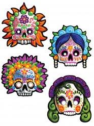 4 Máscaras decorativas Día de los muertos 30 cm
