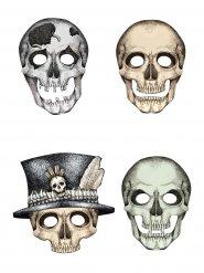 4 Caretas de cartón esqueleto Halloween