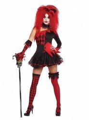 Disfraz arlequina del mal rojo y negro mujer