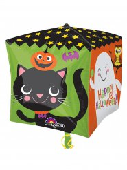 Globo aluminio cubo Happy Halloween de colores 38 x 38 cm