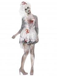 Disfraz zombie barroco gris blanco mujer