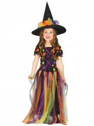 Disfraz bruja tul multicolor niña Halloween