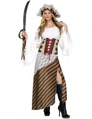 Disfraz pirata a rayas marrón mujer