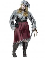 Disfraz mujer pirata zombie talla grande