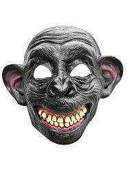 Semi máscara de mono sonriente látex gris y beige