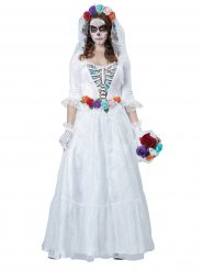 Disraz de esqueleto novia para Halloween multicolor
