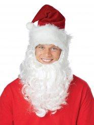 Gorro de Papá Noel con barba blanca