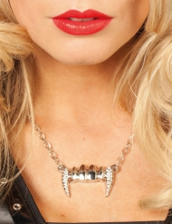 Collar dientes de vampiro plata mujer Halloween