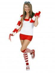 Calcetines altos mujer rojos y blancos