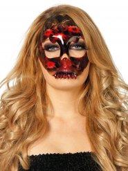 Máscara esqueleto encaje negrorojo mujer Halloween
