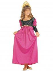 Disfraz reina medieval rosa niña