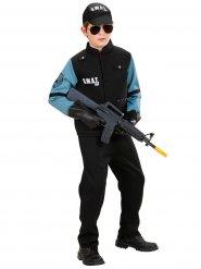 Disfraz policía SWAT negro y azul niño