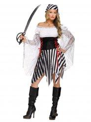 Disfraz de pirata negro y blanco mujer