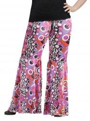Pantalón hippie motivos flower power talla grande