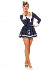 Disfraz marinero azul y blanco sexy mujer