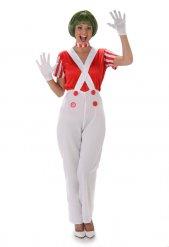 Disfraz mujer obrera de chocolatería blanco y rojo