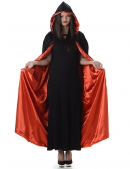 Capa con capucha roja y negra Halloween adulto