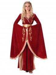 Disfraz reina Edad Media rojo y dorado mujer