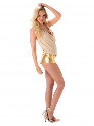 Disfraz Popstar sexy dorado mujer