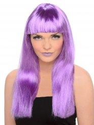 Peluca con flequillo mujer violeta