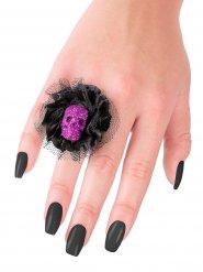 Anillo negro y violeta calavera Halloween