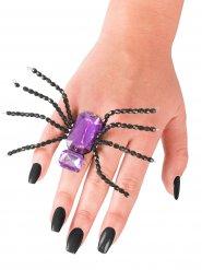 Anillo araña negro y violeta Halloween