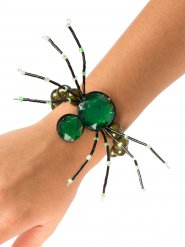 Pulsera gótica araña con piedras preciosas verdes Halloween