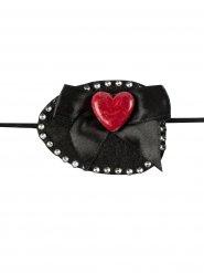Parche de pirata piedras y corazón negro y rojo 7x 5 cm