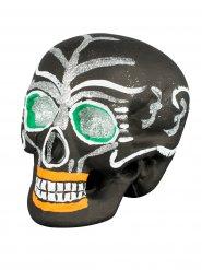 Decoración cráneo Día de los muertos negro 21x16x15 cm