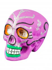 Decoración cráneo Día de los muertos rosa 21x16x15 cm