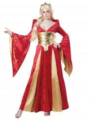 Disfraz reina medieval rojo mujer
