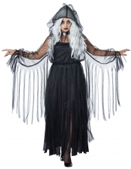 Disfraz elegante fantasma Halloween talla grande negro mujer