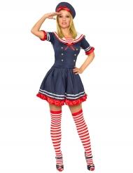 Disfraz mujer marinero azul y rojo